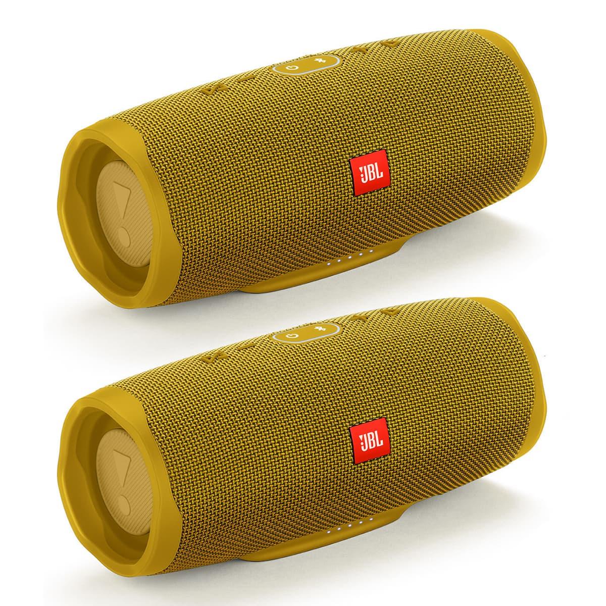 JBL Charge 4 Waterproof Portable Wireless Bluetooth Speaker Bundle - Pair (Yellow)