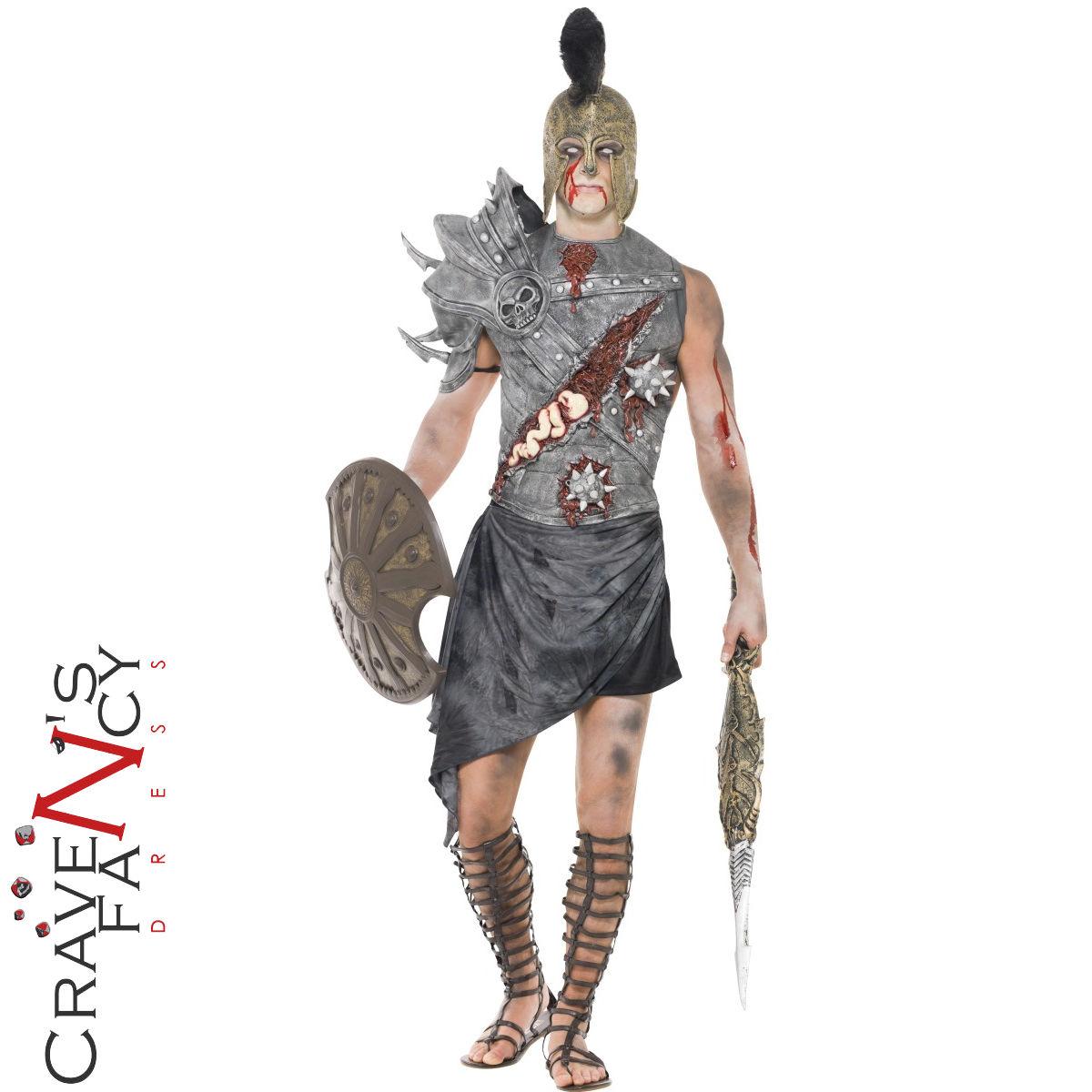 Dettagli su Adulti Zombie Costume Da Gladiatore Romano Guerriero Halloween  Abito Outfit Nuovi- mostra il titolo originale 6f4518272752