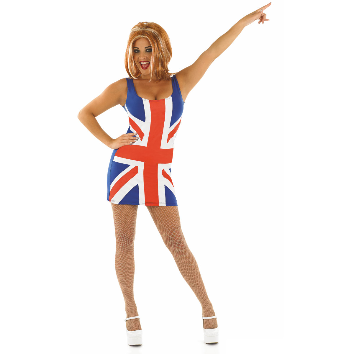Ladies Fever Rule Britannia Costume Adults Ginger Spice ...  Ginger Spice British Dress