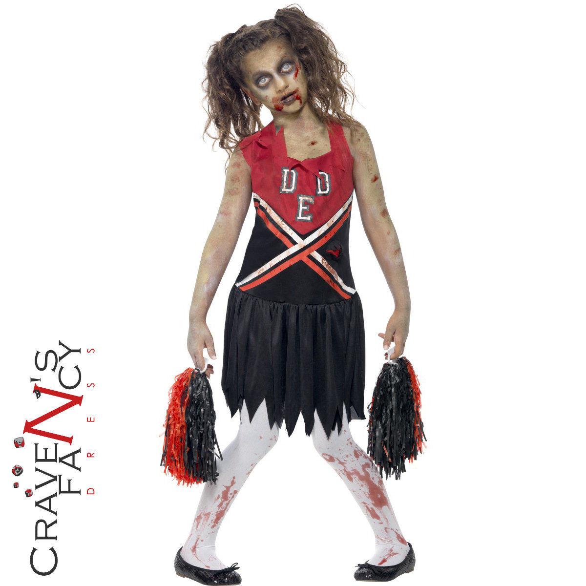 3a0321ff3603 Girls Zombie Cheerleader School Girl Costume Halloween Kids Fancy Dress  Outfit Sc 1 St EBay