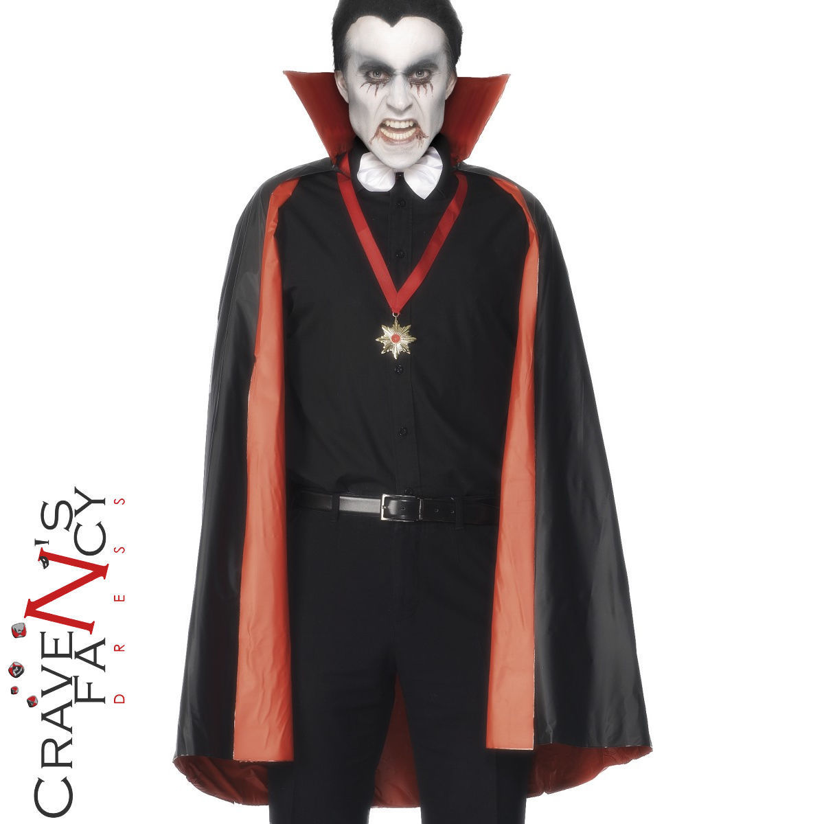 Details about PVC Reversible Vampire Count Dracula Cape Black   Red  Halloween Fancy Dress f5c6bf01893c2