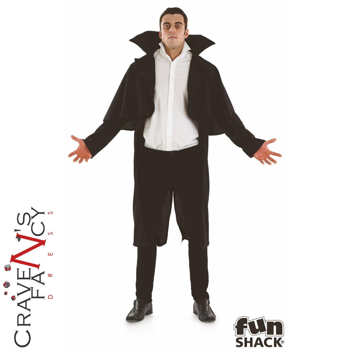 Dettagli su Costume da vampiro adulto Nero Mantello Da Uomo Conte Dracula  Halloween fantasia Abito Outfit- mostra il titolo originale 098d24e4858c