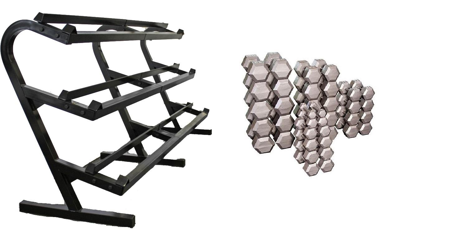 Troy-Barbell-USA-Sports-5-100-lb-Grey-Hex-Set-5-lb-Inc-amp-TDR3-Dumbbell-Rack