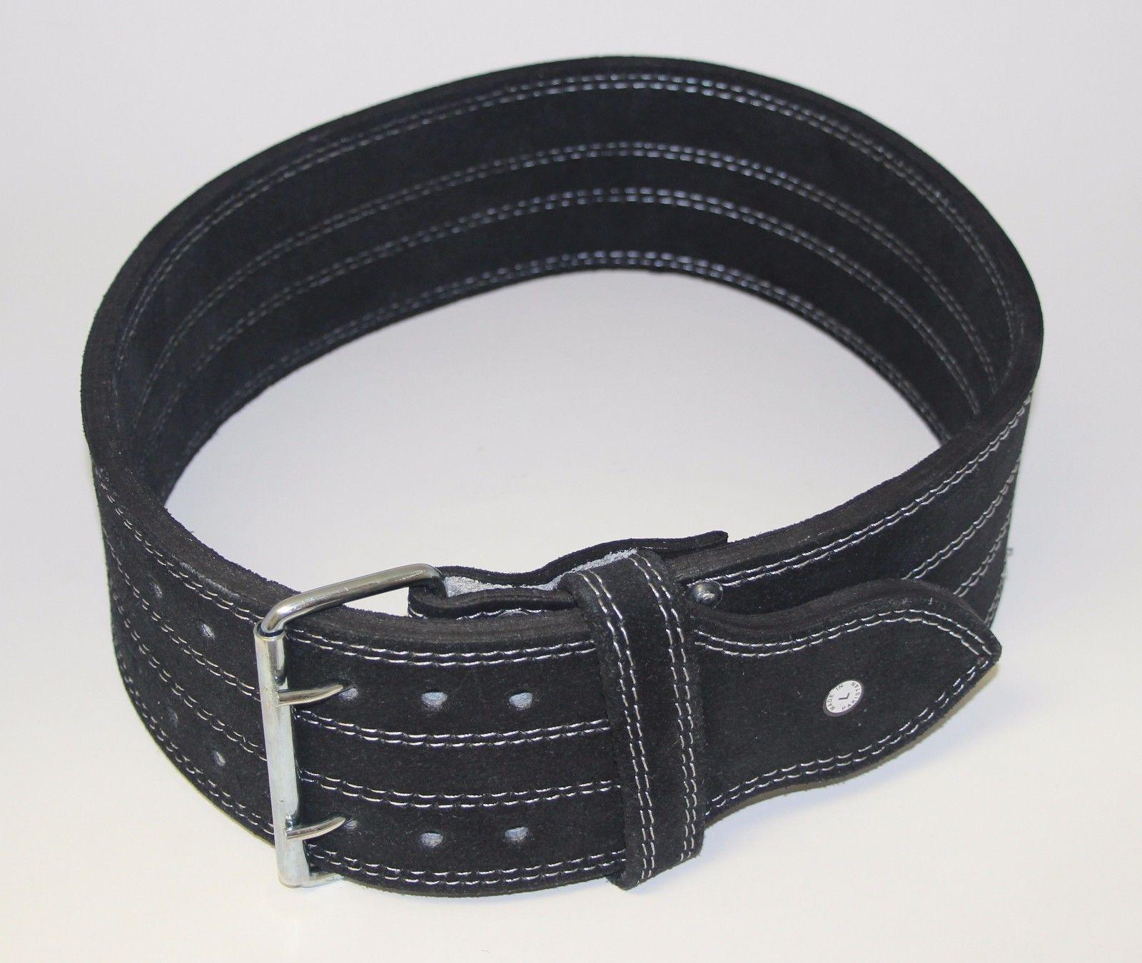 "Ader Fitness 4/"" 10MM Black Leather Power Belt Double-Prong Belt X-LARGE"