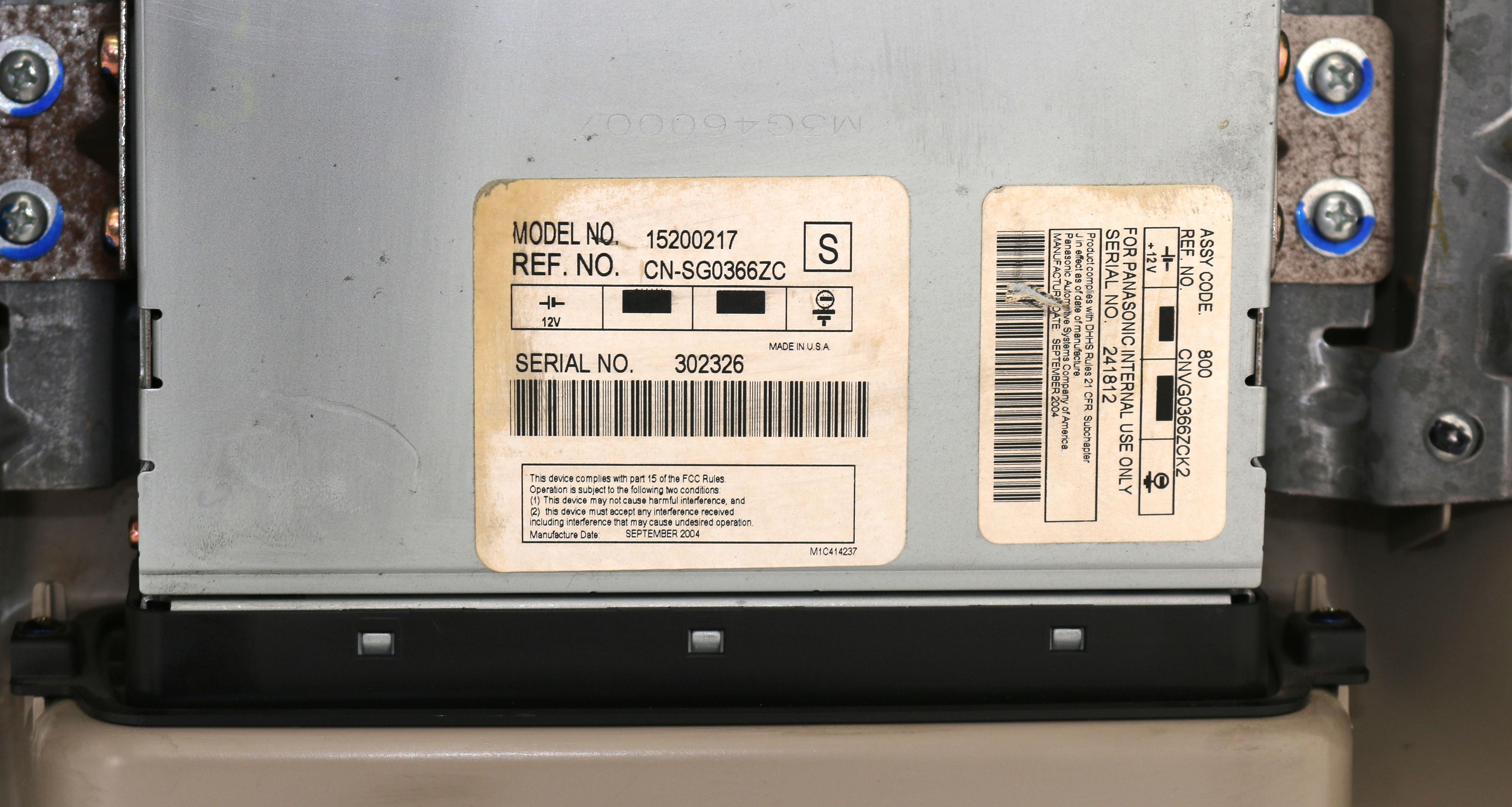 2005-07 chevy silverado 1500 panasonic entertainment system opt u42 on  universal car wiring diagram panasonic car dvd