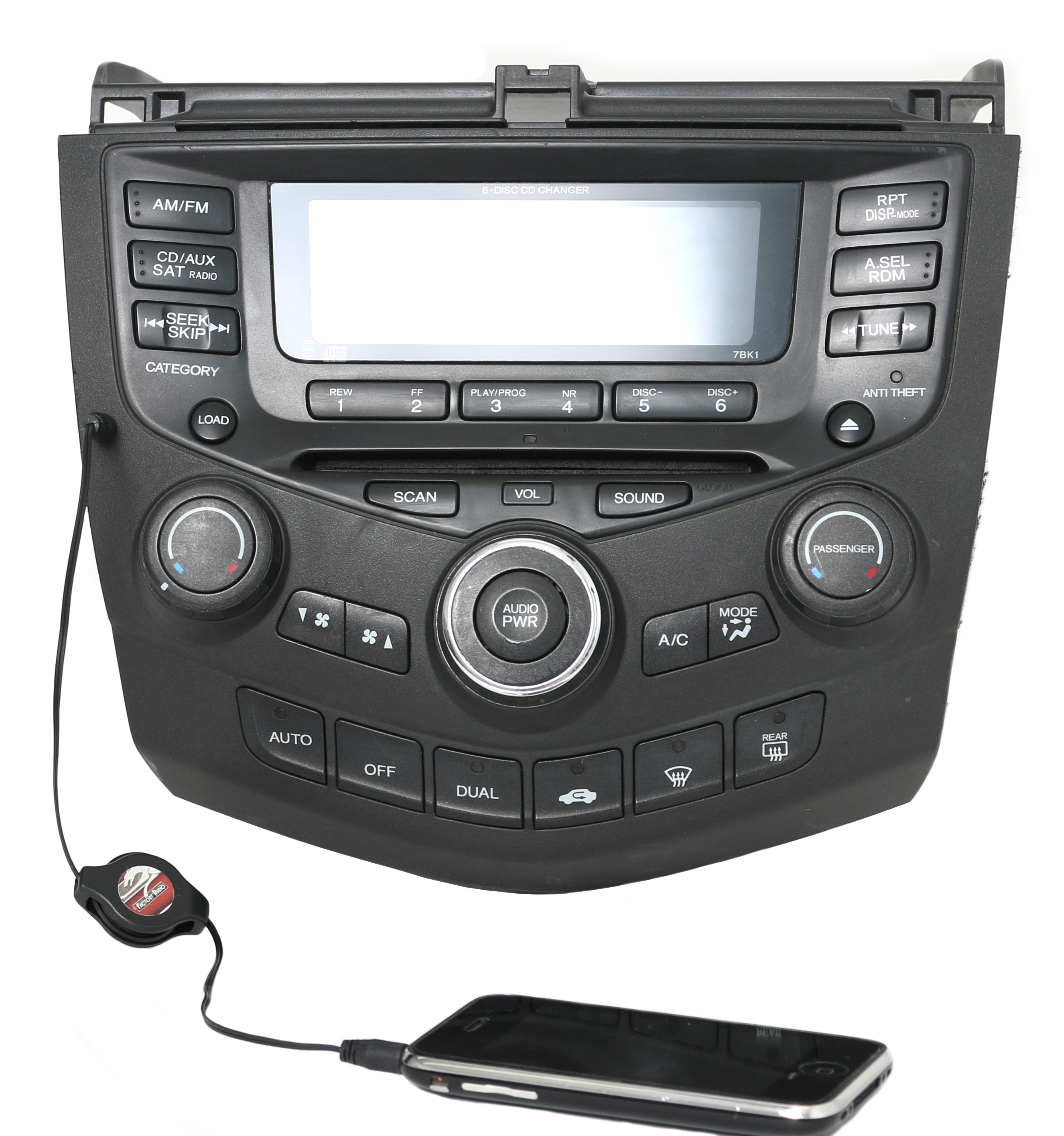 Reman and Aux Mod SERVICE for 04-07 Honda Accord AMFM Radio 6 Disc Temp  Controls - 1 Factory Radio