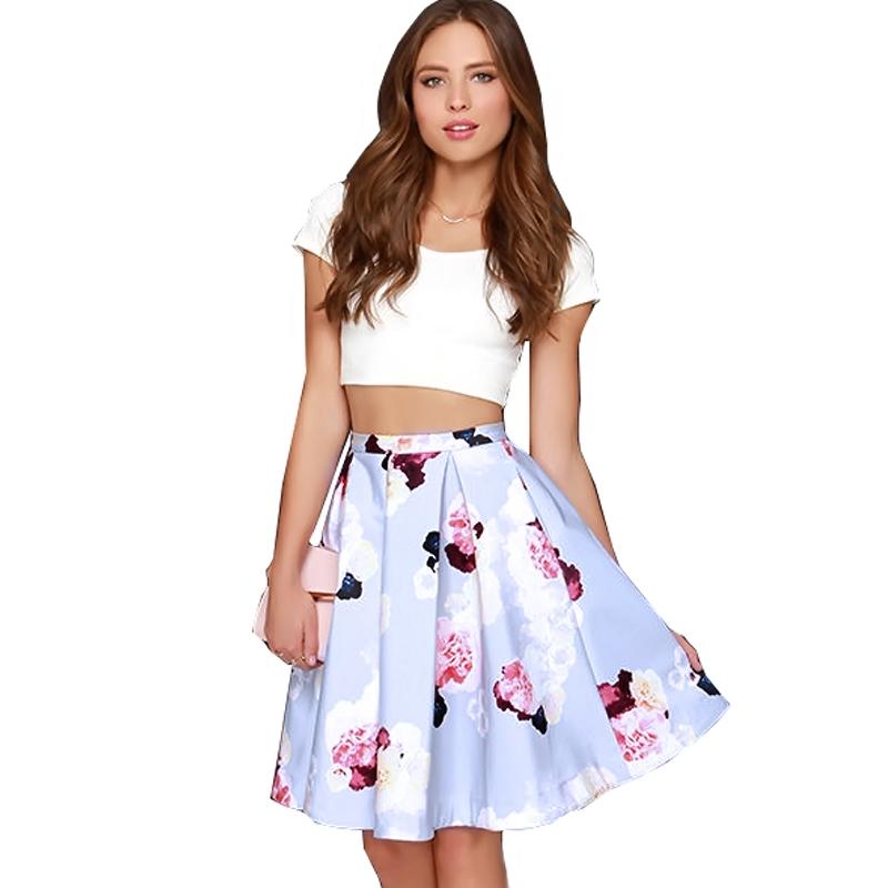 Women Two Piece Crop Top + Floral Skirt Set Summer Party ...