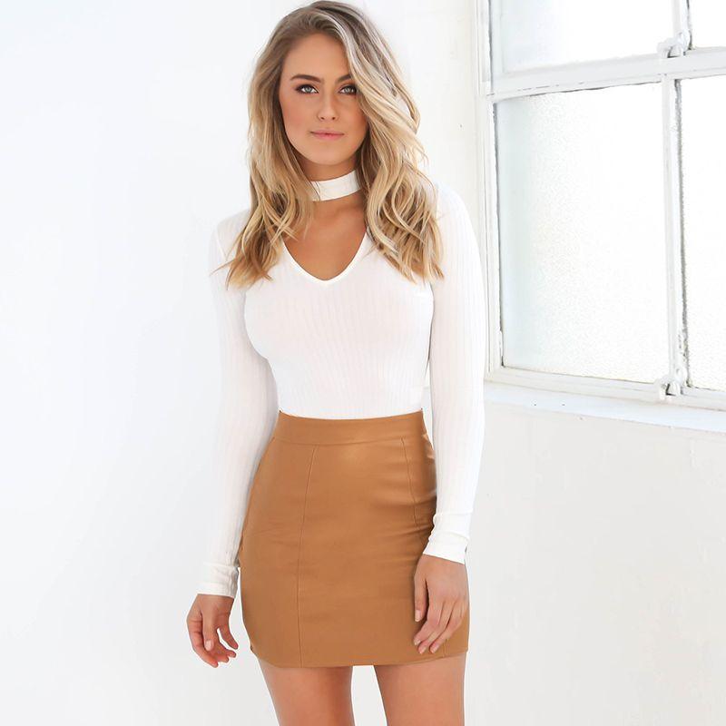 women autumn long sleeve shirtbodycon leather skirt 2pcs