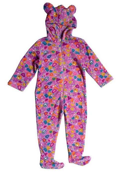 Girls Kids Onesies Pajamas Footed Hooded Animal Sleepwear