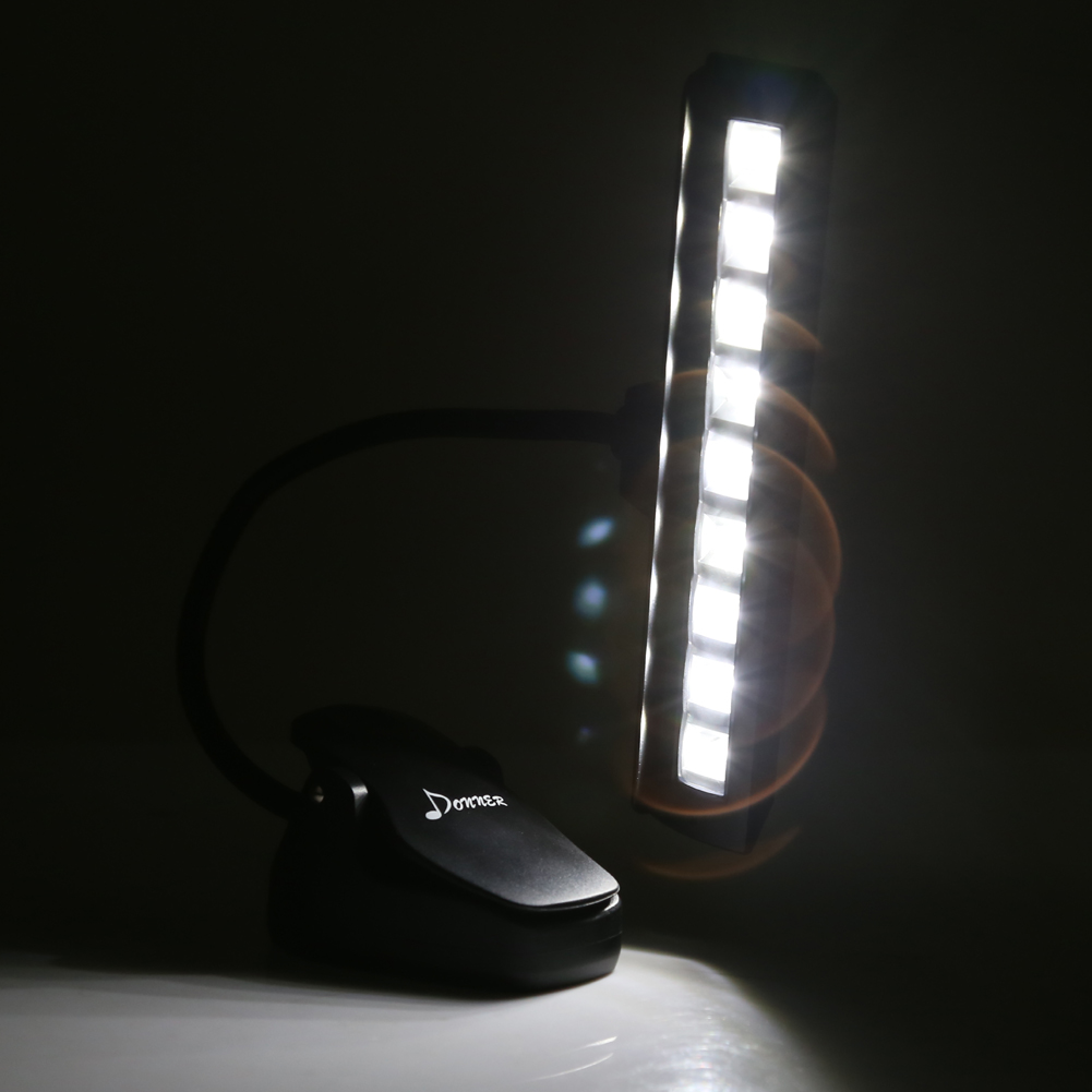 donner clip on installable batteries led music stand light with adapter. Black Bedroom Furniture Sets. Home Design Ideas