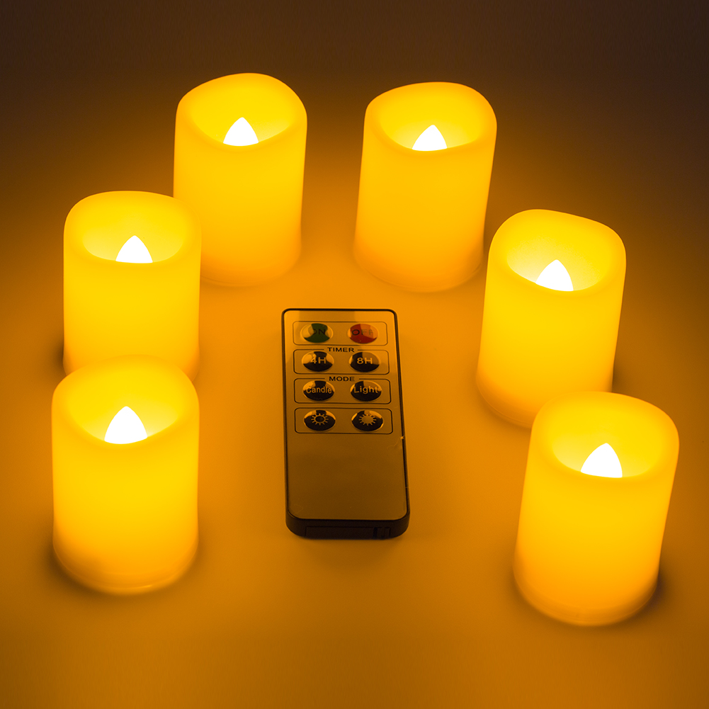 6x Led Flameless Candles Flickering Tea Light Candles