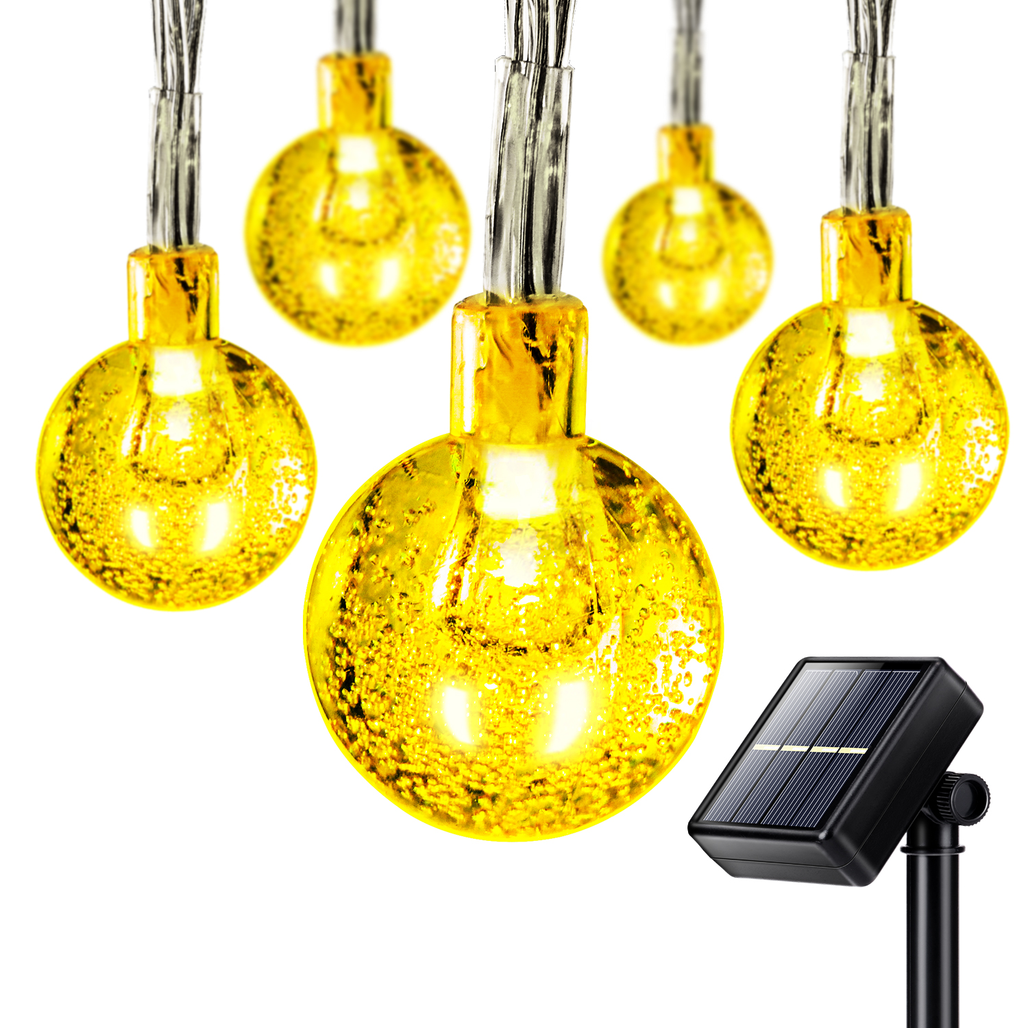 25ft 50 LED Solar Outdoor String Lights Waterproof Ball Lights Party Xmas Fun eBay