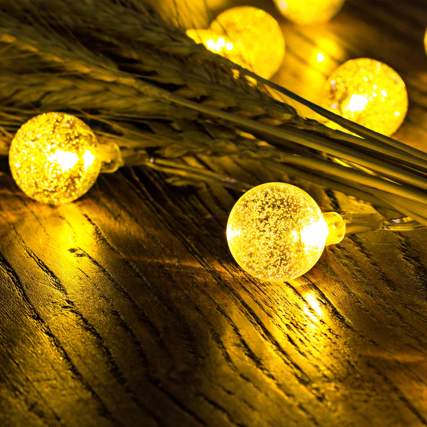 25ft 50 led solar outdoor string lights waterproof ball lights party xmas fun. Black Bedroom Furniture Sets. Home Design Ideas