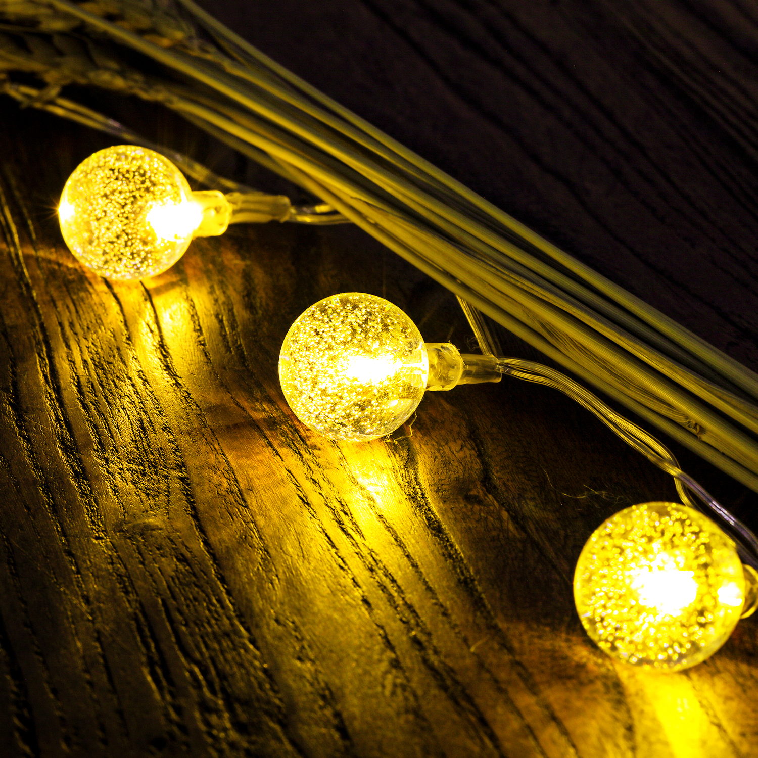 Outdoor Bistro Solar Powered Globe String Lights: 50 LED Solar Outdoor String Lights Globe String Fairy