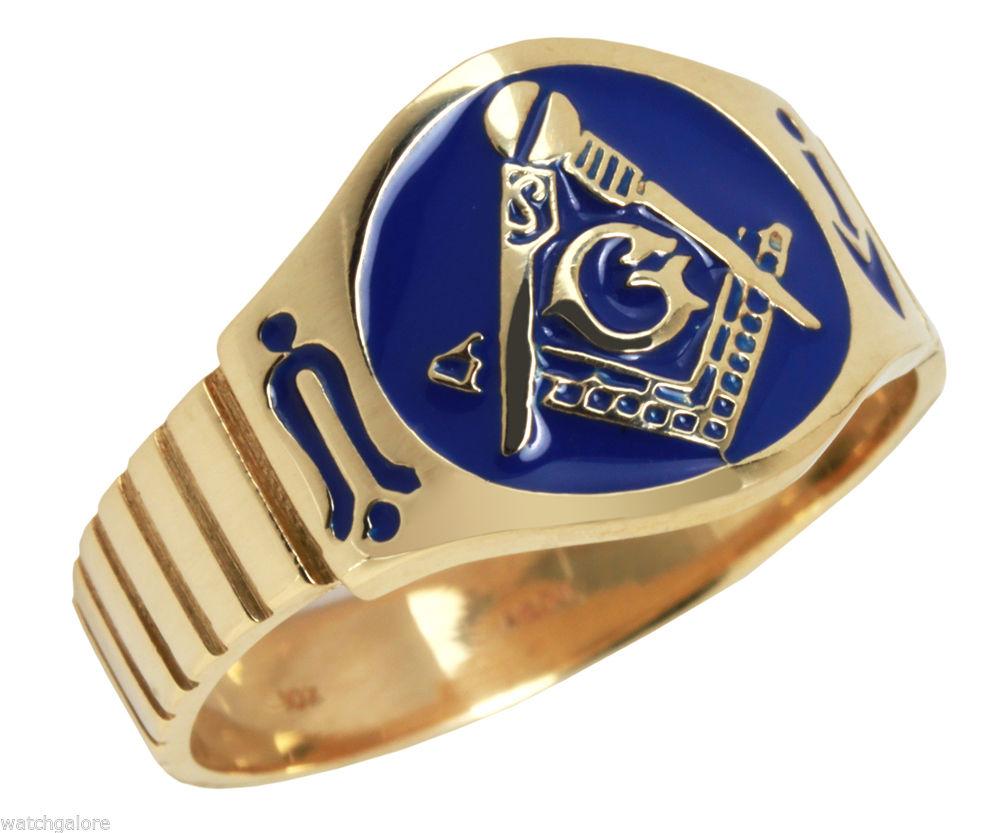 Solid Back 14k Or 10k Yellow Gold Masonic Freemason Mason