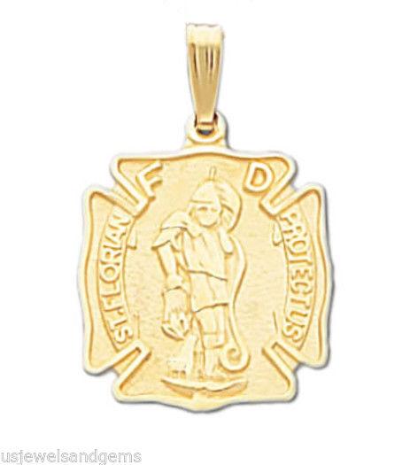 St Florian Necklace: New 10k Or 14k Yellow Gold Saint St Florian Firefighter