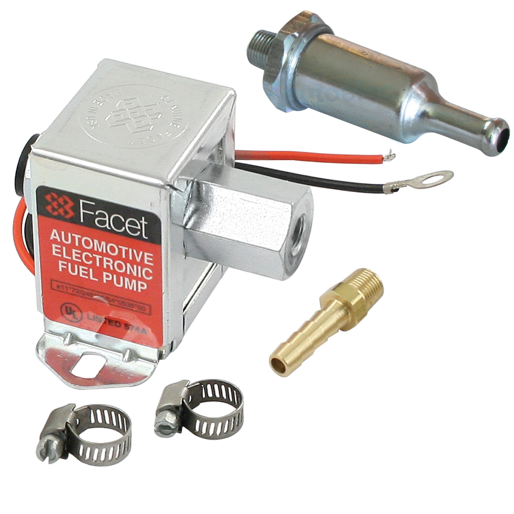 Facet Fep42sv Cube Electric Fuel Pump 15 4 Psi Includes Clamps Filter Fittings