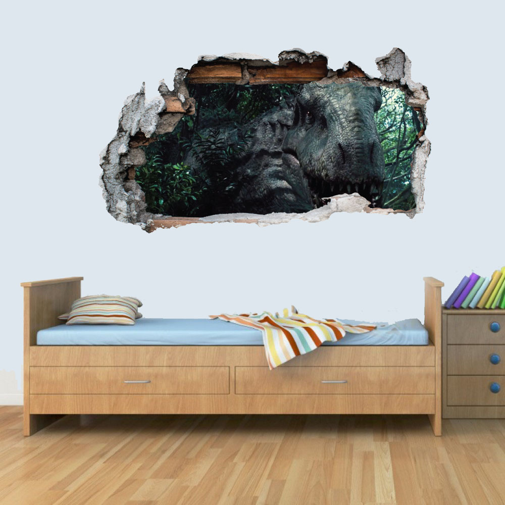 Dinosaur Jurassic World D Kids Wall Art Sticker Breakout Smashed - 3d dinosaur wall decalsd dinosaur wall stickers for kids bedrooms jurassic world wall