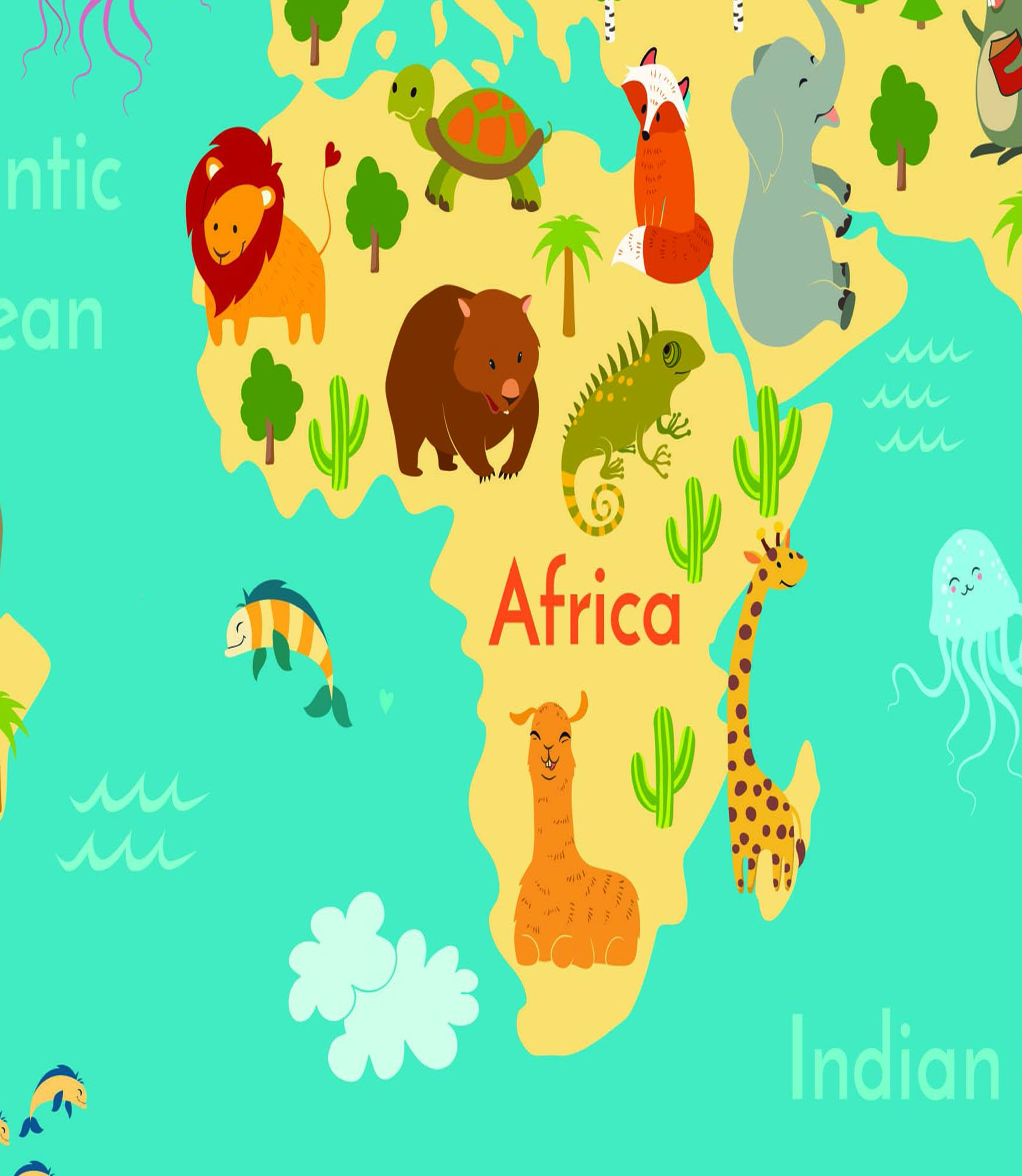 Kid Map Of Africa.Kid Animal Map Of The World Wall Art Decal Vinyl Stickers Picture