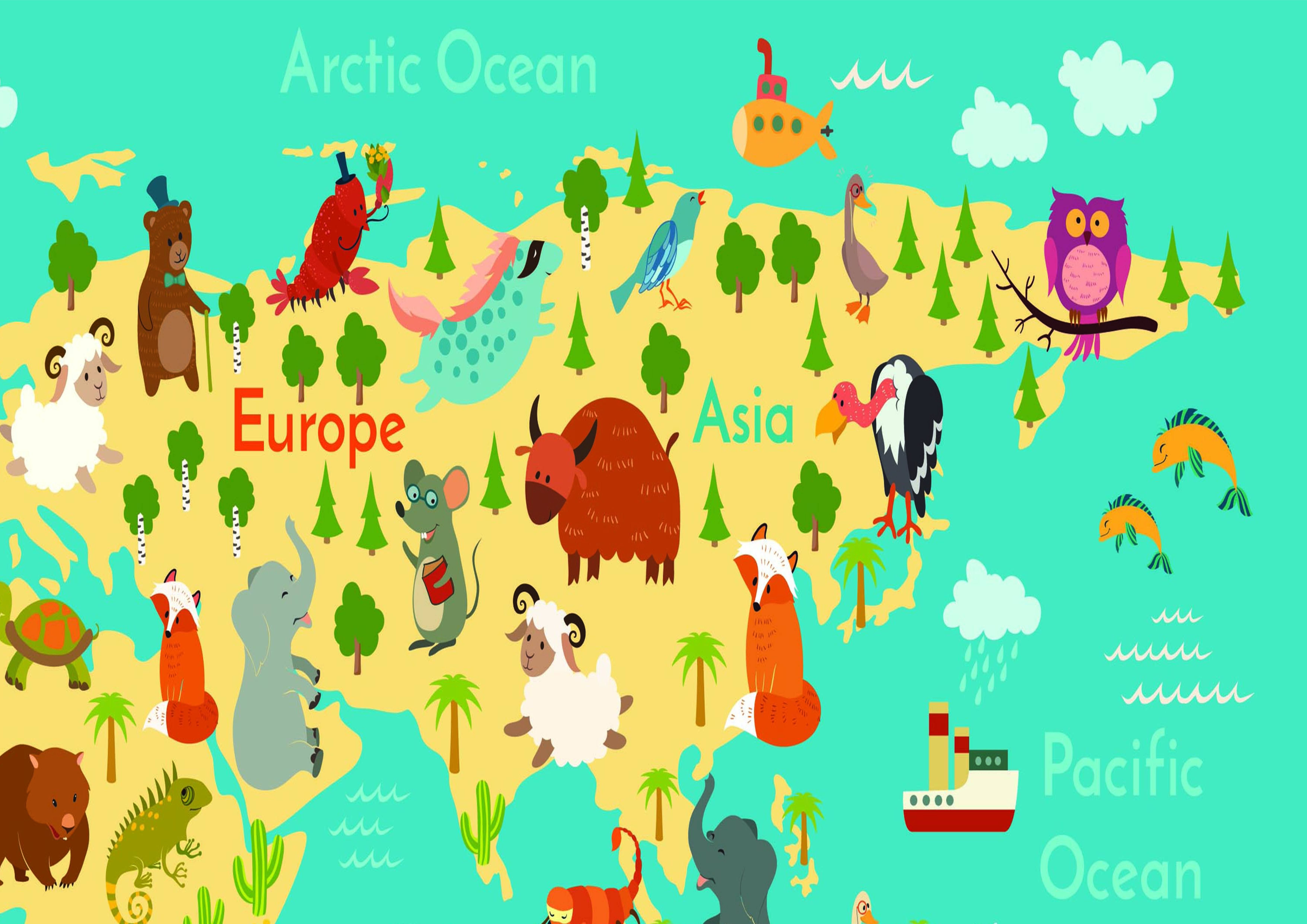 Kid Animal Map of The World Wall Art Decal Vinyl Stickers Picture ...