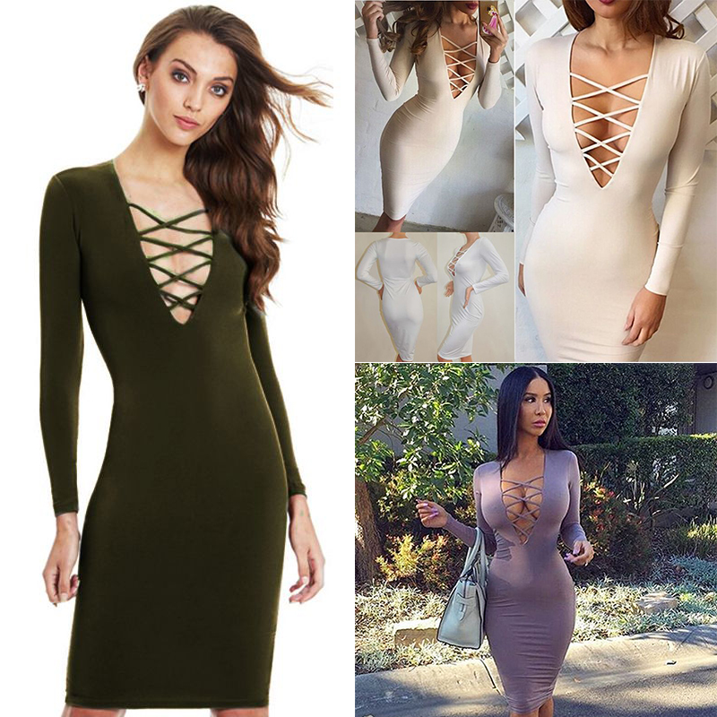 Sexy Women V Neck Cross Open Front Lace Up Long Sleeve Bandage ... c3f1f1938