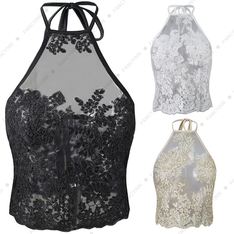 3900d98a137 Women Halter Gold Line Embroidery Mesh Overlay Floral Lace Crop Top ...