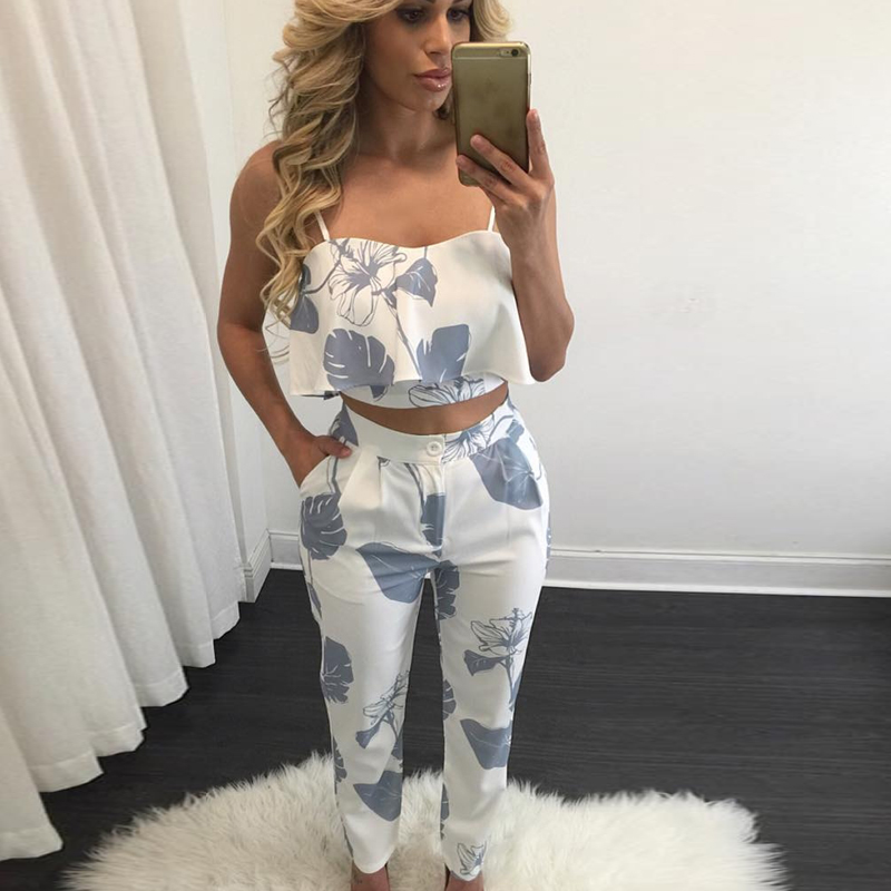 Women 2 Piece Outfits Sleeveless Floral Print Crop Top ...