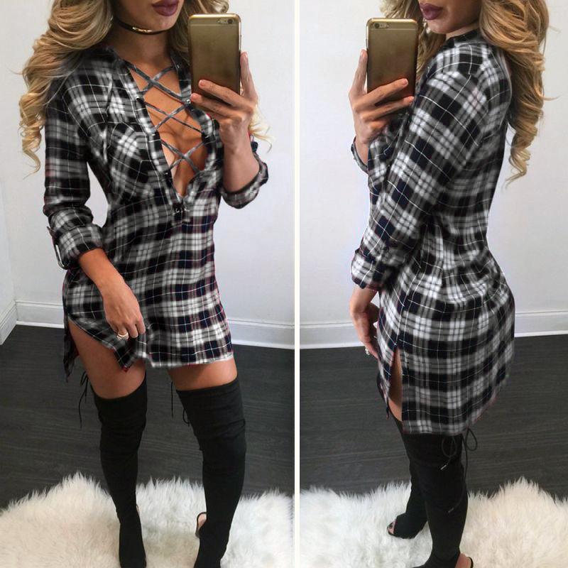 561f56eb7fdc Women Plaid Shirt Dress Classic Mini Lace Up Long Sleeve Dresses ...