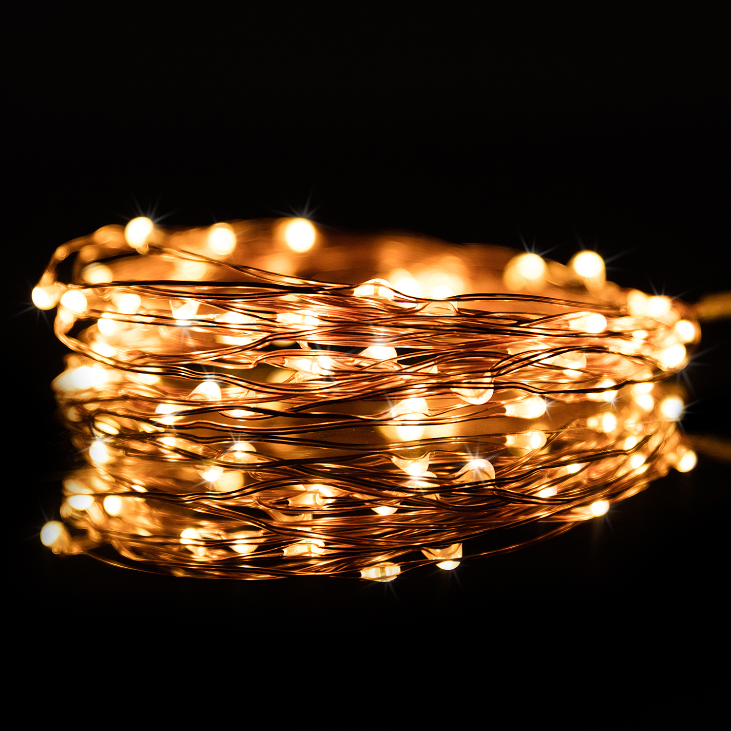 20ft 120 LED Warm White Color Bendable Micro Copper Wire String Fairy Light