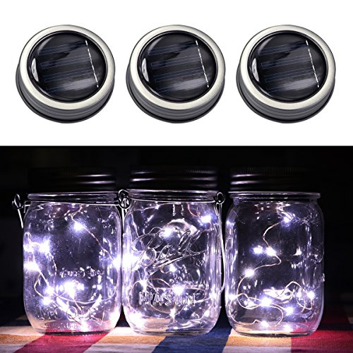 3 Pack Solar Mason Jar Led Light Magnet On Off Switch Wire