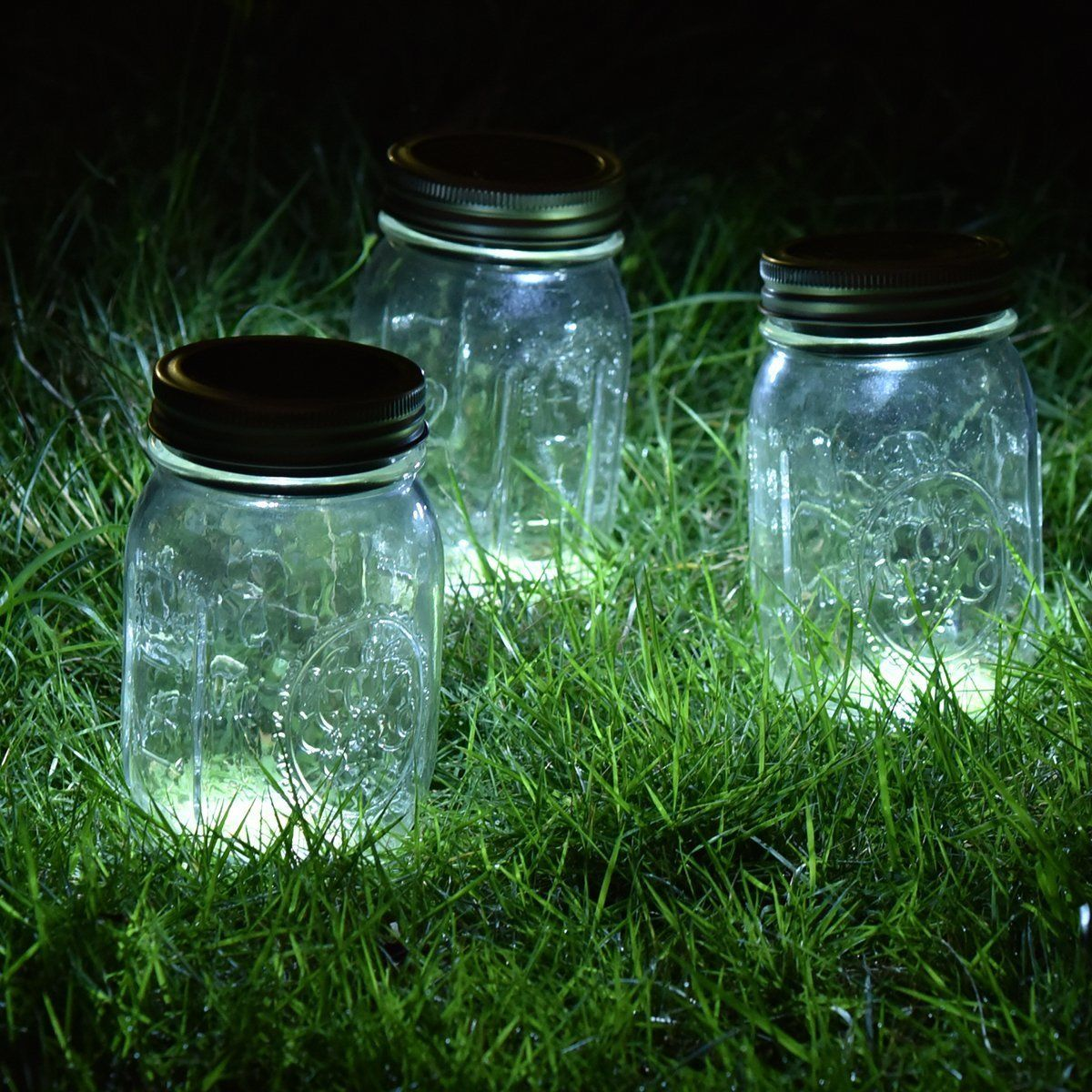 3 Pack Mason Jar Solar Lights Screw Silver Lids Warm Soft