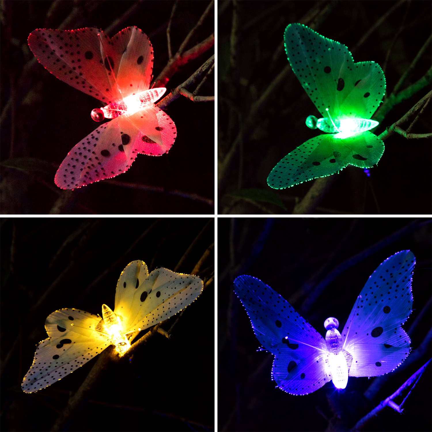12x New Led Solar Butterfly Colorful String Fairy Lights
