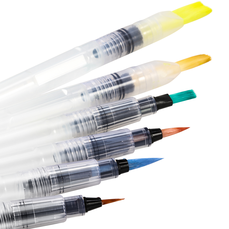 6 Set Water Color Brush Refillable Pen Watercolor Color ...