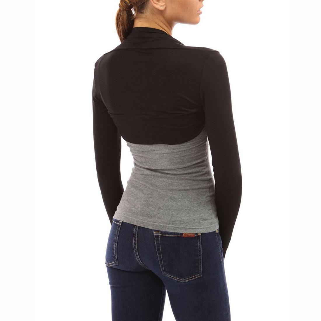 0232a3993f Womens Long Sleeved Bolero Shrug Ladies Plain Cropped Cardigan ...