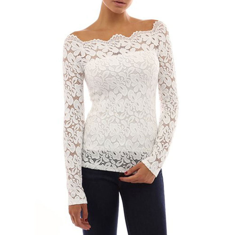 06e90e8af5eed6 Womens Ladies Lace Floral Off Shoulder Long Sleeve Tops Shirt ...