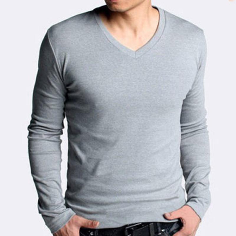 100% Cotton Mens Slim V Neck Long Sleeve Plain T-Shirt Casual ...