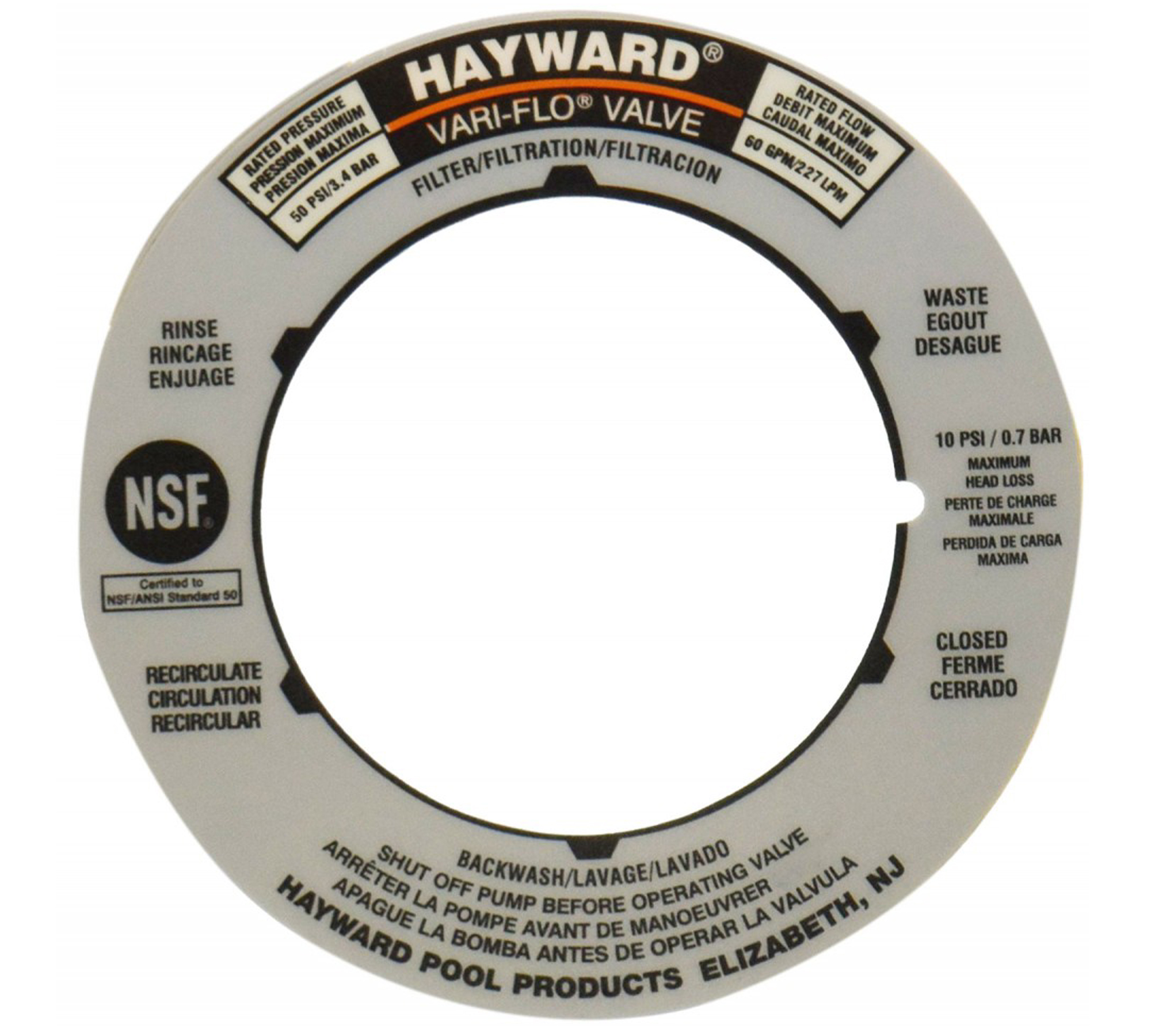 Hayward swimming pool sp0710g11 label plate replacement - Hayward swimming pool ...