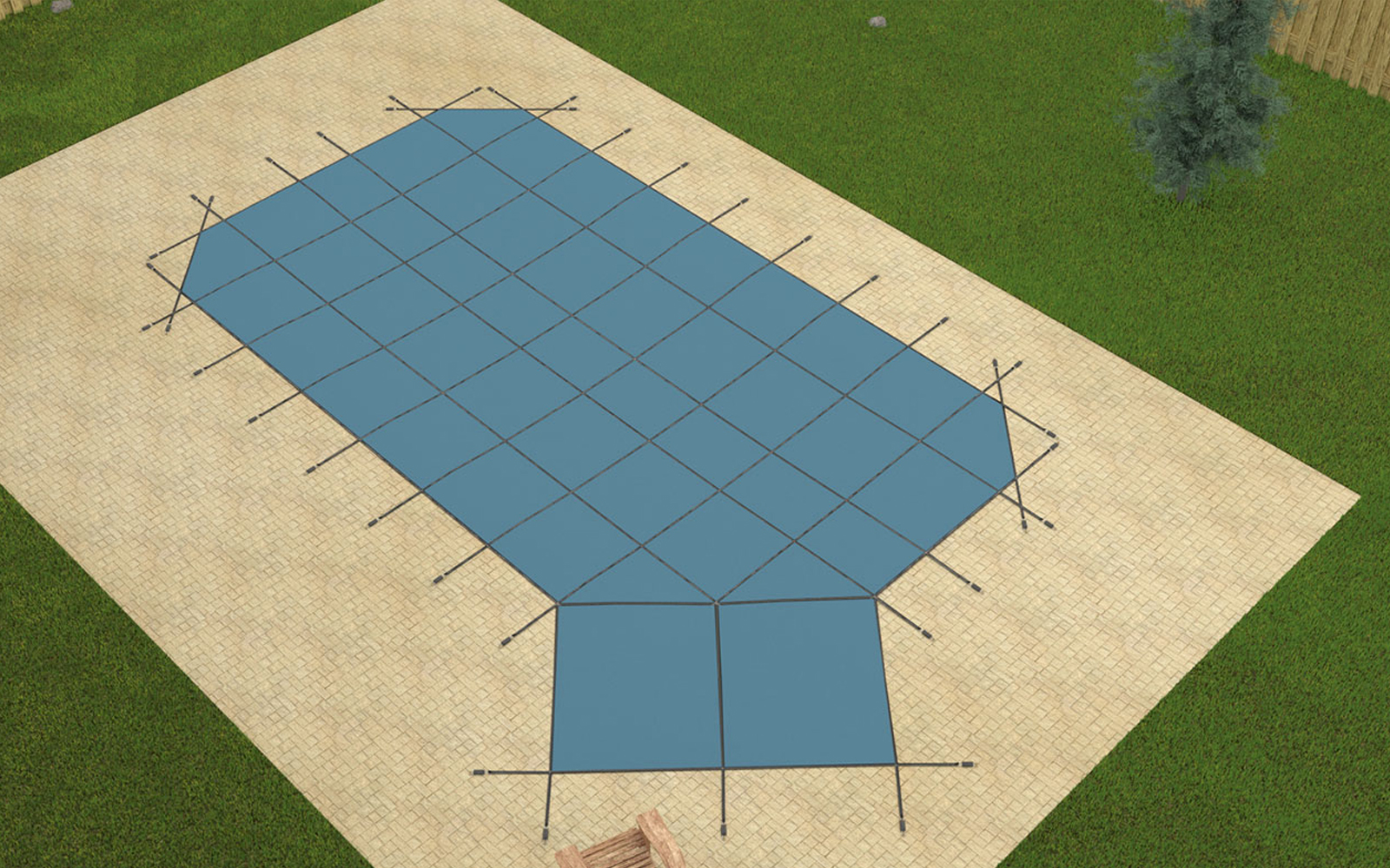 16 39 6 X35 39 6 Grecian Blue Mesh In Ground Swimming Pool Safety Cover W Right Step Ebay