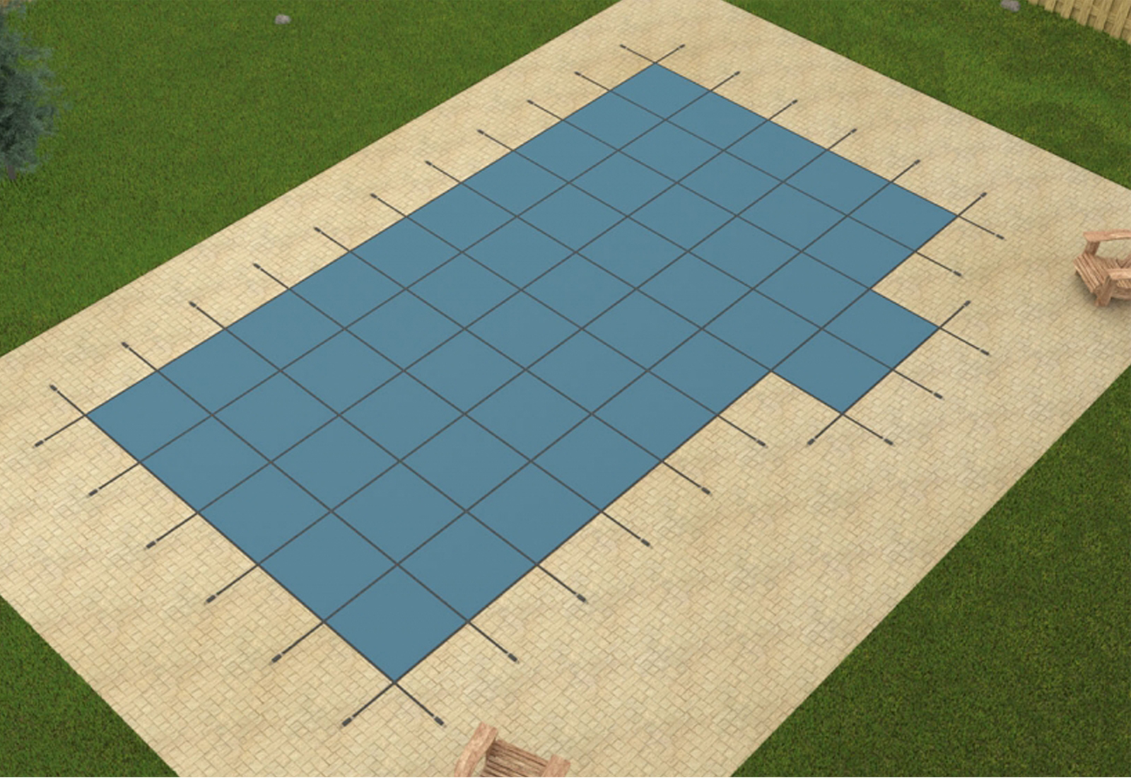 Gli 20 39 X40 39 Blue Mesh In Ground Swimming Pool Safety Cover W 4x8 Right Step Ebay