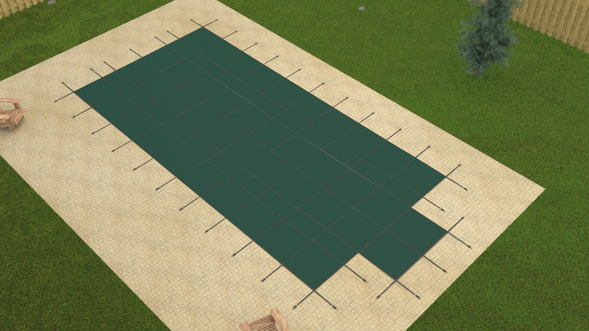 Gli 18 39 X36 39 Rectangle Green Mesh In Ground Swimming Pool Safety Cover W 4x8 Step Ebay