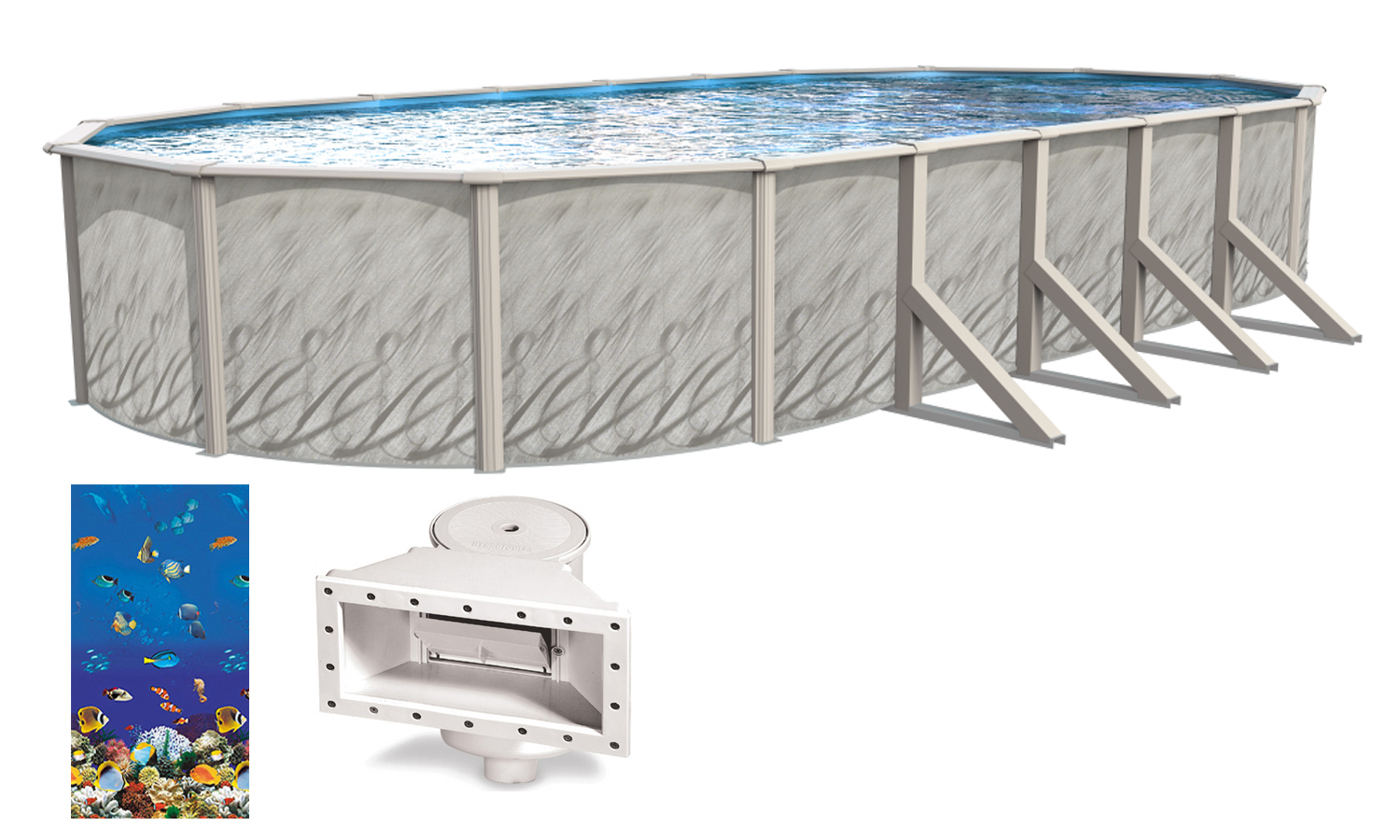 12x24x52 ft oval meadows above ground swimming pool w - Above ground oval swimming pools for sale ...