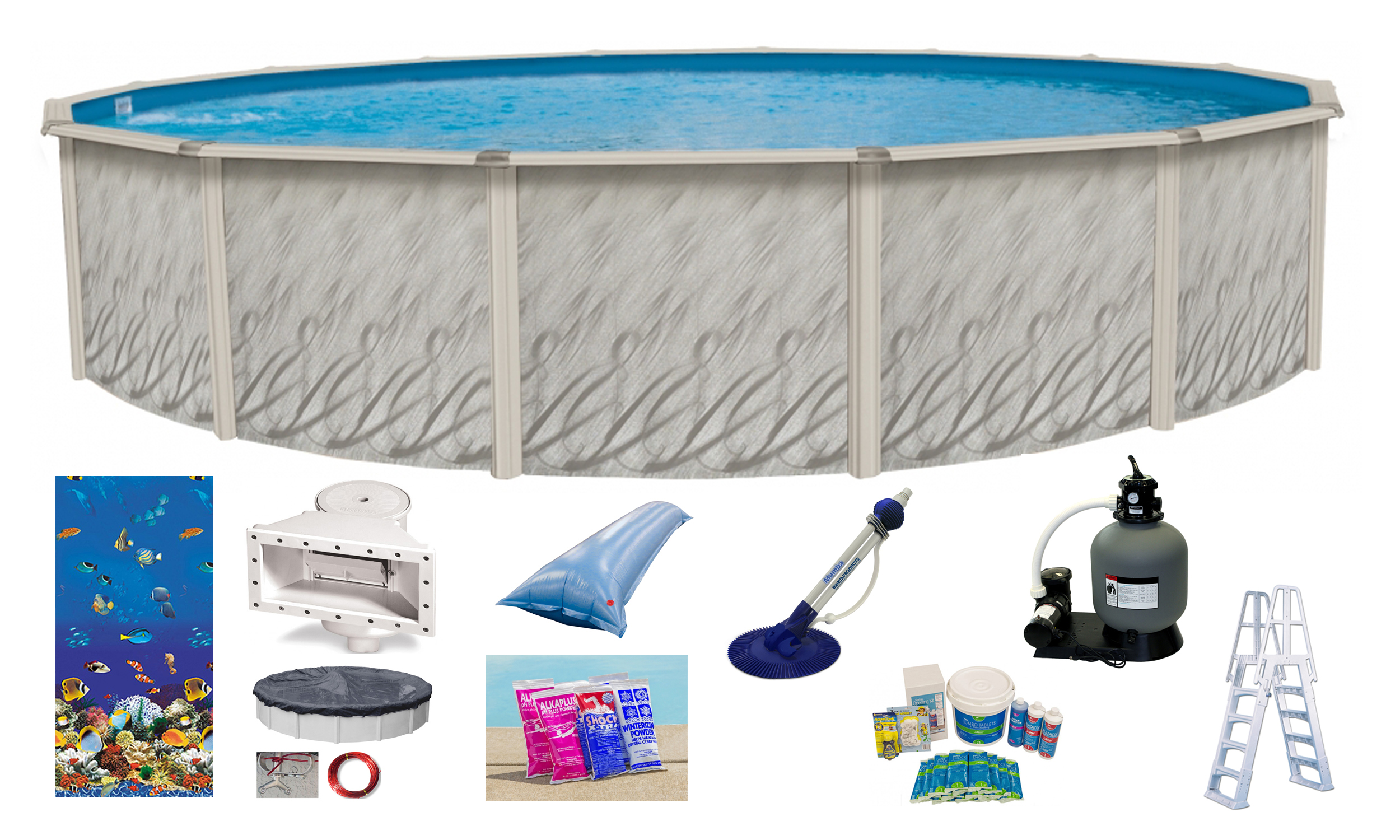 18 39 X52 Round Meadows Above Ground Swimming Pool W Caribbean Liner Kit Pack Ebay