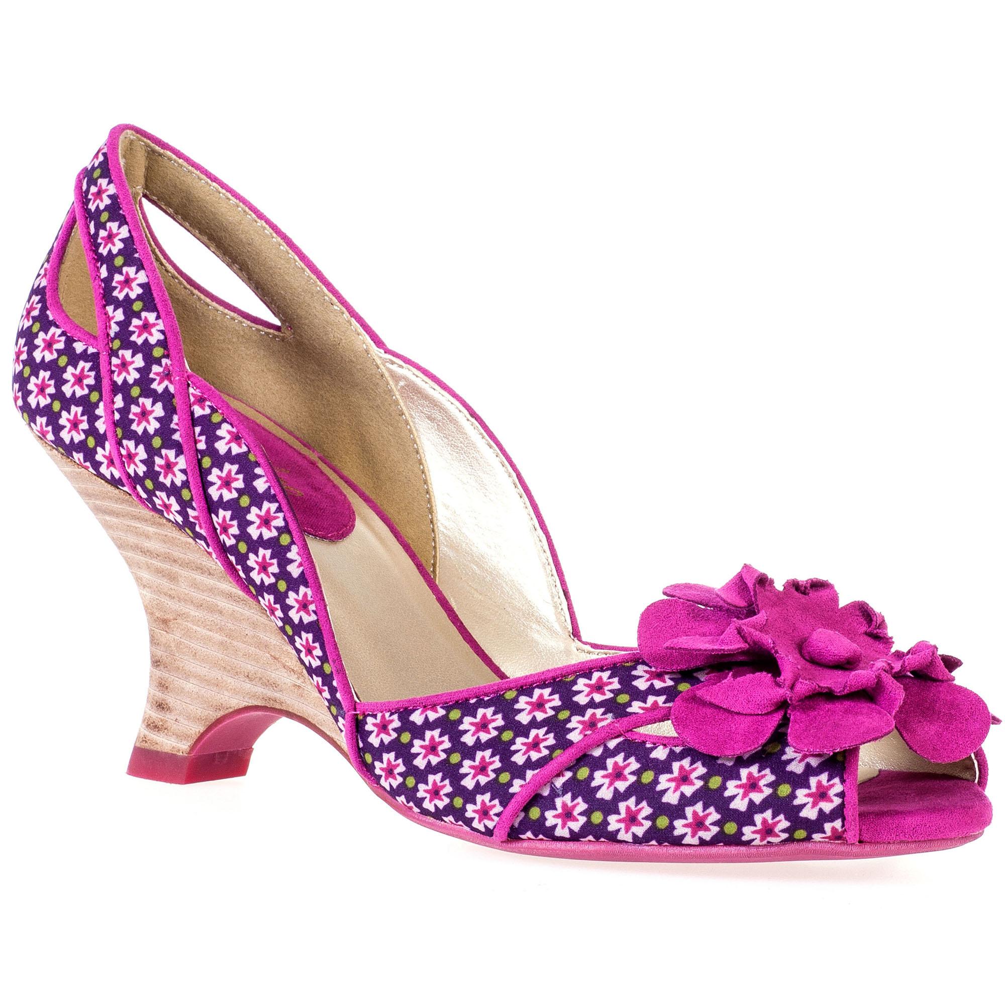 d7d34069 Ruby Shoo Holly Shoes Sz 3 - 8 Purple Vintage Floral Peeptoe Wedge 1940s 4  5 6 7