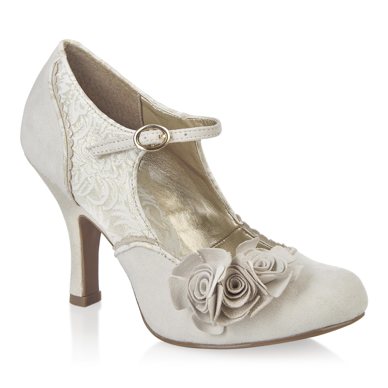 womens ruby shoo emily cream gold high heel court shoes sz. Black Bedroom Furniture Sets. Home Design Ideas