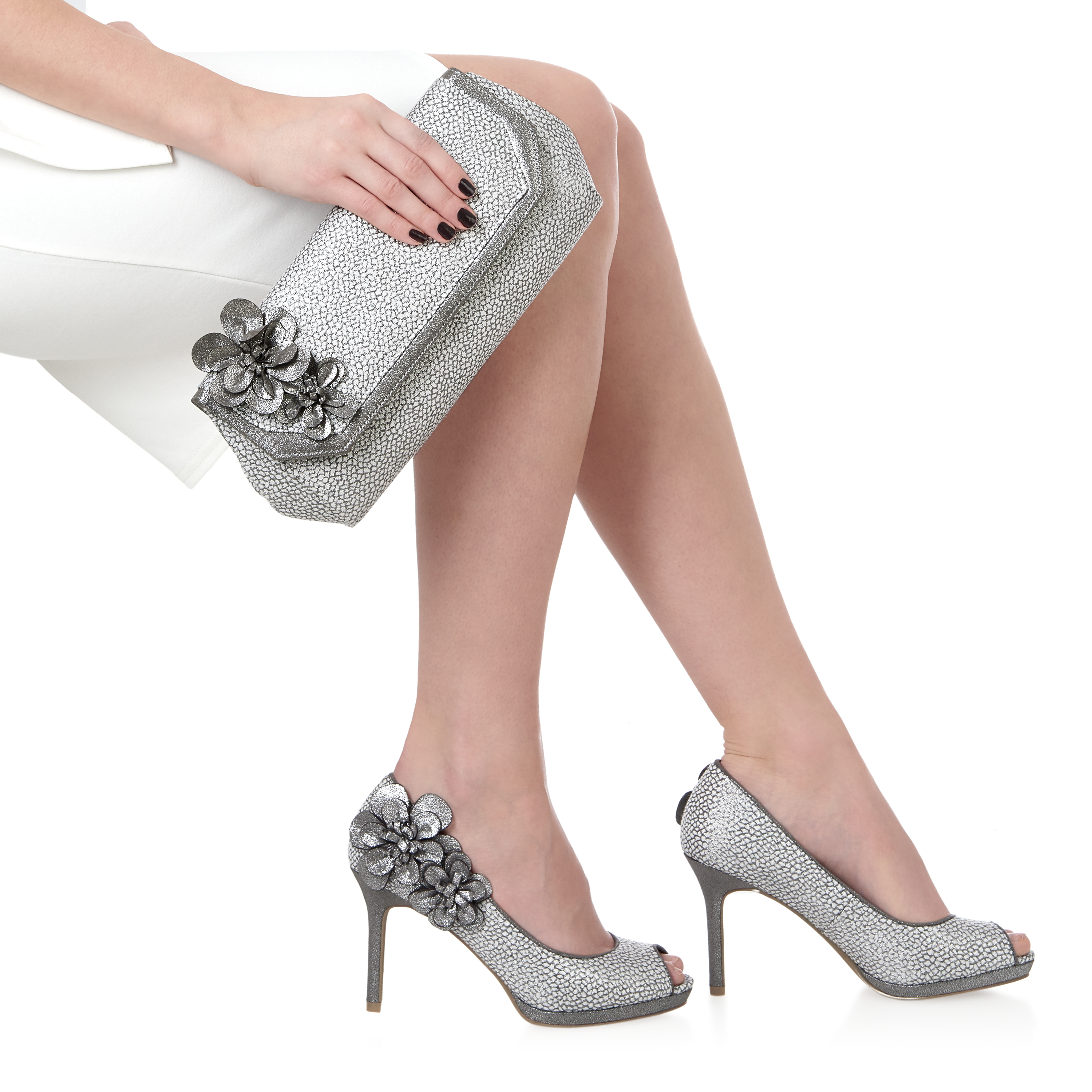 Silver Peep Toe Shoes And Matching Bag