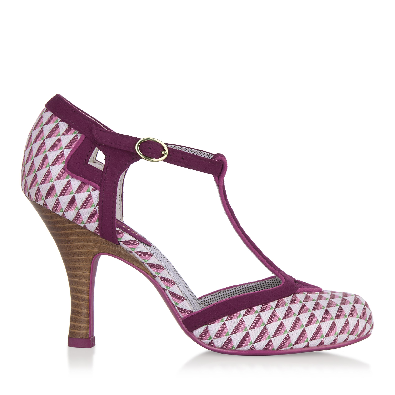Ruby Shoo Hatty Matching Fabric T-Bar Pumps & Matching Hatty Sydney Bag Pink / Lemon 3b4615