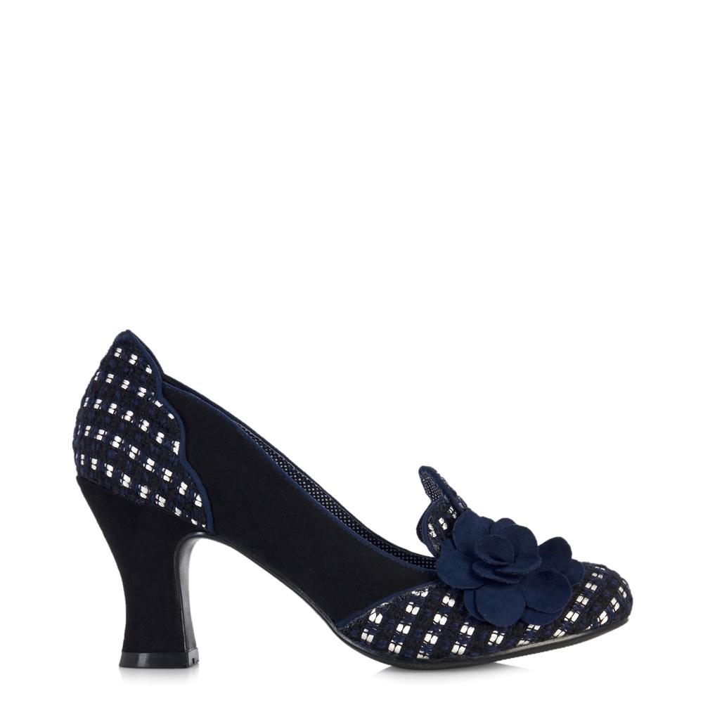NEW Ruby Shoo Lola Schuhes Tweed Corsage Court Schuhes Lola Navy / Grau Plum UK3-9 EU36-42 f33425