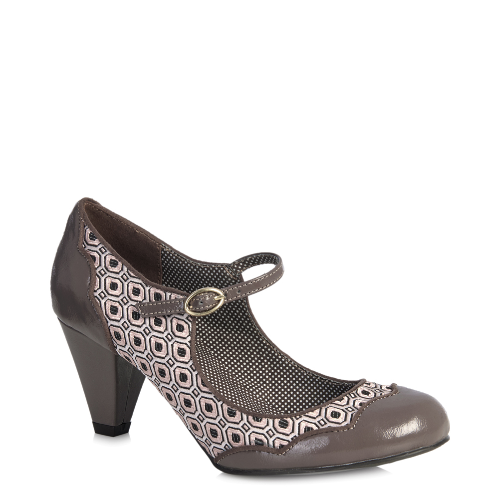 Ruby Shoo Patent Hazel Mid Heel Mary Jane Pumps /& Brighton Bag Black Mink UK3-9
