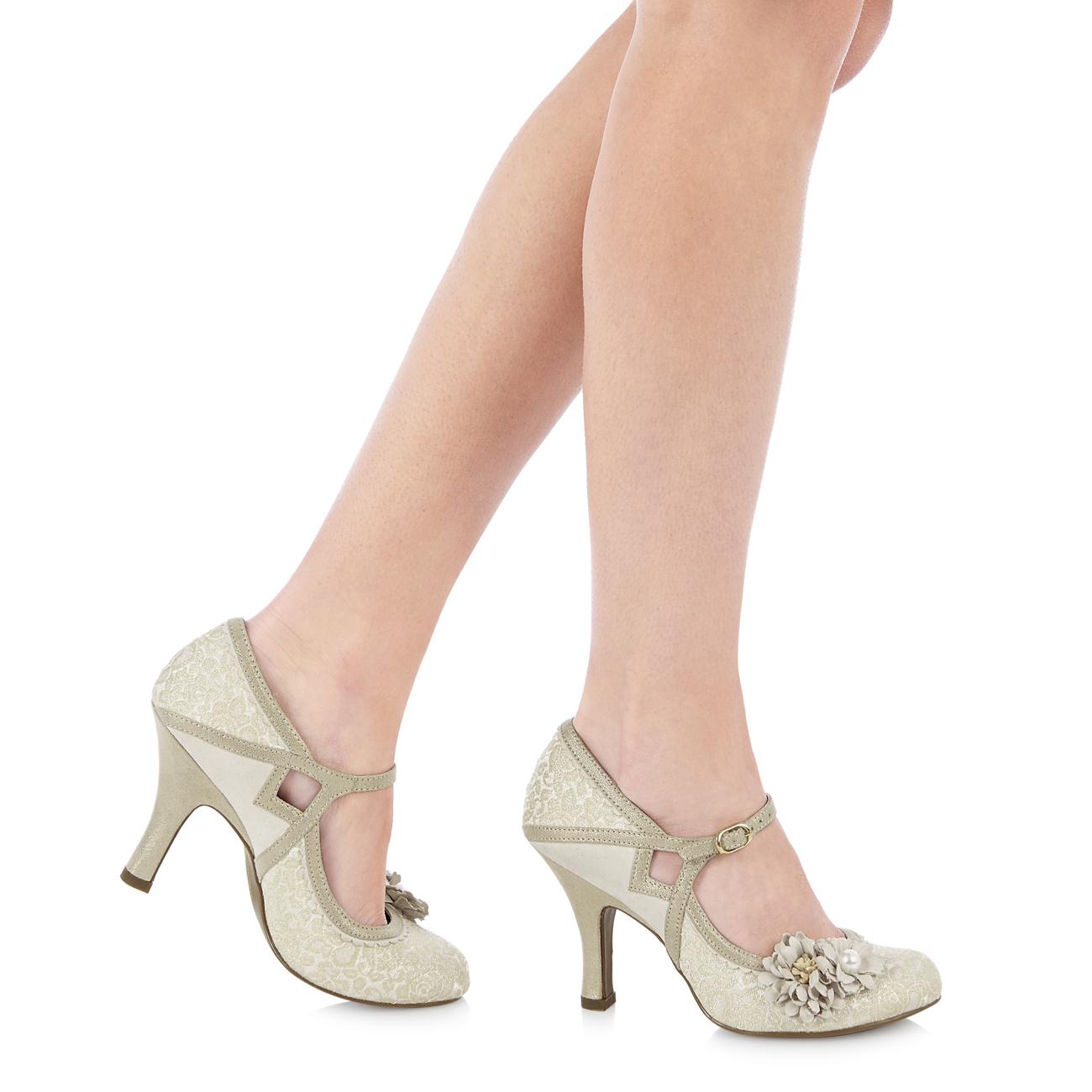 Ruby Shoo Luxury Brocade Yasmin Mary Jane  3-9 Cream Rose Gold Aqua Bridal