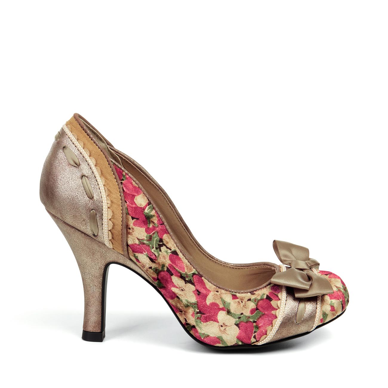 NEW Ruby Shoo Amy Court Schuhe / Round Toe Navy Spot / Schuhe Cream UK3-9 EU36-42 Bridal f45545